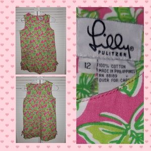 Lilly Pulitzer Girls Pink Green Butterfly Dress 12